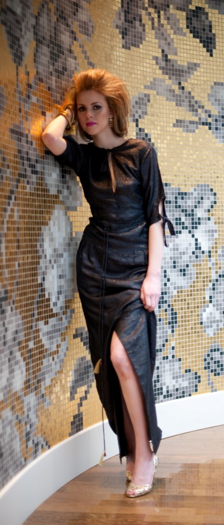 silk dress with tassel chain belt